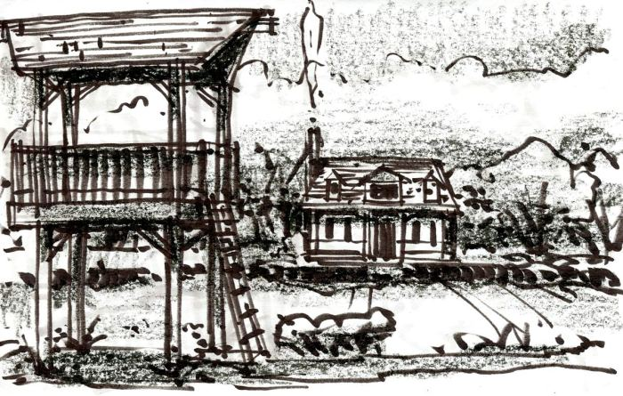A conceptual sketch of a residential house with a tree house in the foreground. The sketch was completed with a brush pen and black crayon.
