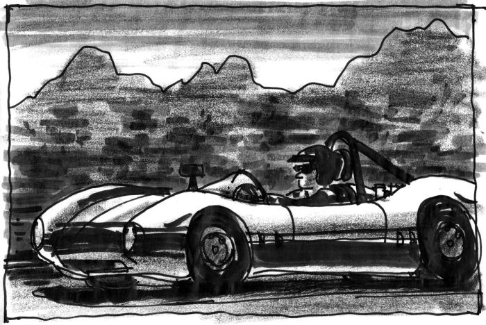 Loose sketch of a vintage racecar racing on the track. The sketch was completed in pen, brush pen, and black crayon.