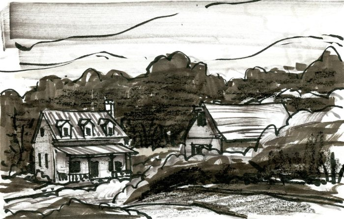 A loose sketch of a farmhouse with barn in a wooded landscape. The sketch was completed with brush pen, marker, and a black crayon.
