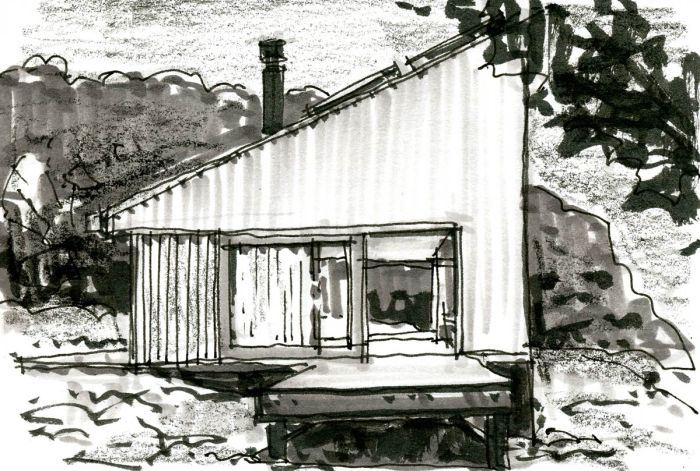 A sketch of a modern home based off of a photo. The sketch was completed with pen, marker, and a black crayon.