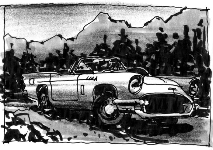 A sketch of a vintage automobile completed with pen, brush pen, and black crayon.