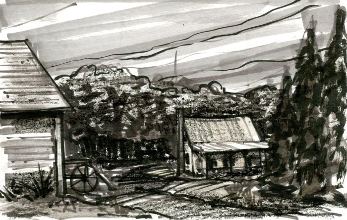 A loose sketch of a old homestead in a wooded landscape. The sketch was completed with marker, brush pen, and black crayon.
