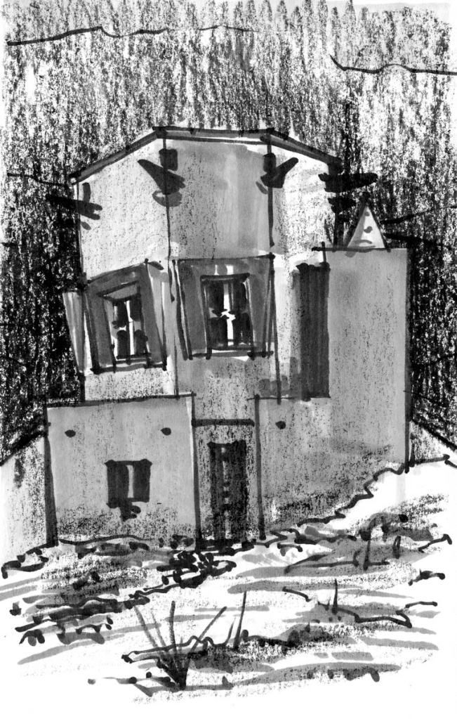 A loose sketch of a building based on a photo. The sketch was completed with brush pen, marker, and a black crayon.