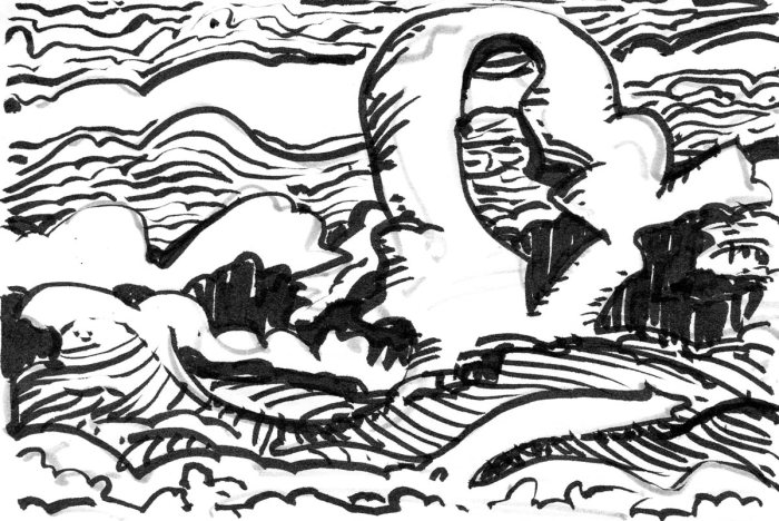 A loose sketch with random lines and marks that appear to be a landscape, creating using a marker and brush pen with black ink..