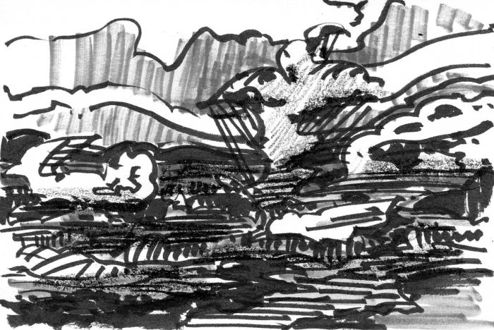 A loose sketch with random lines and marks that appear to be a landscape created using a brush pen, marker, and crayon..