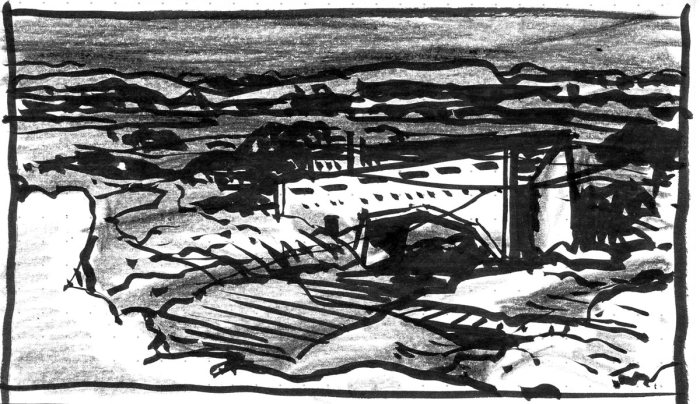 A loose sketch with random lines and marks that appear to be a landscape with a building, created using a brush pen and black crayon.