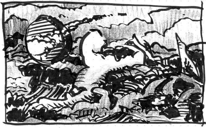 A loose sketch with random lines and marks that appear to be a landscape, created using a brush pen and black crayon.