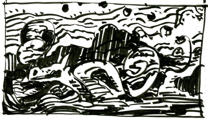 A loose sketch with random lines and marks that appear to be a landscape, created using a brush pen.