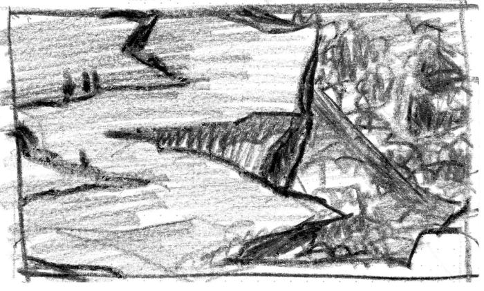 A conceptual landscape of an aerial view looking over a cliff with buildings and trees below. Drawn with black crayon.