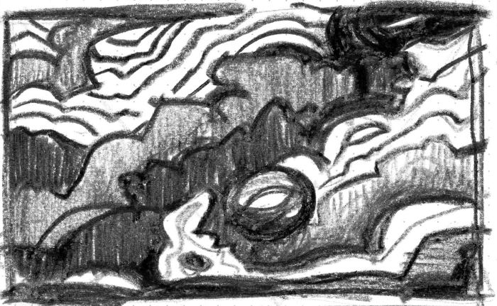 A loose sketch with random lines and marks that appear to be a landscape, created using a black crayon.