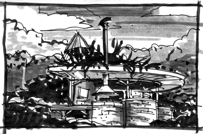 A sketch based on a photo of the Origins Lodge bungalow, completed using pen, brush pen, and marker.