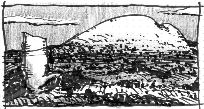 A conceptual landscape with a large, rounded mountain in the background and a monolith in the front left foreground. The sketch was completed with brush pen and black crayon.