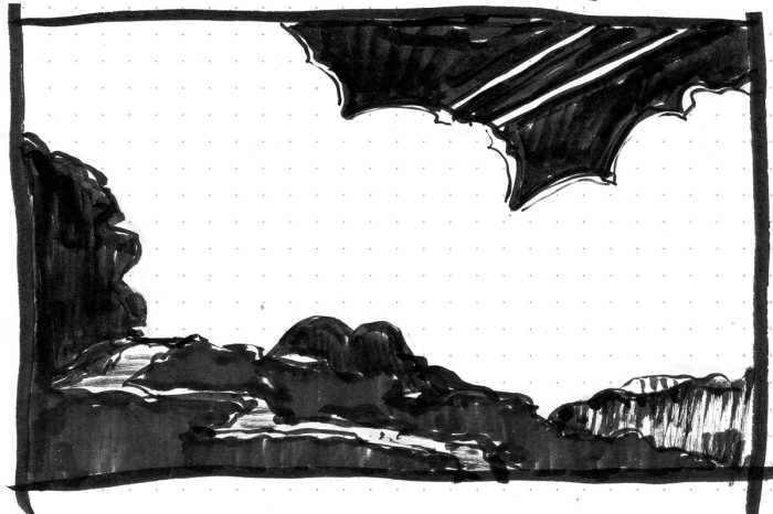 A conceptual landscape with a meandering path in the foreground and a large bank of clouds in the background. The sketch was completed with brush pen and black marker.