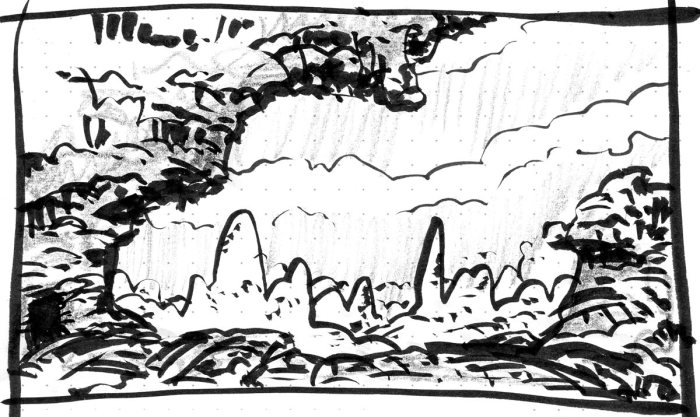 A conceptual landscape looking through a rock overhang to groups of monoliths in the background. The sketch was completed with brush pen and black crayon.