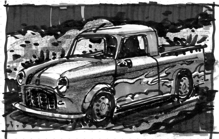 A marker sketch of the Mini truck with flames painted on the side.