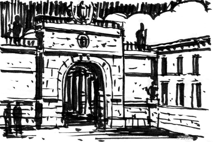 A loose brush pen sketch in black in of a historic stone arch over a pathway.