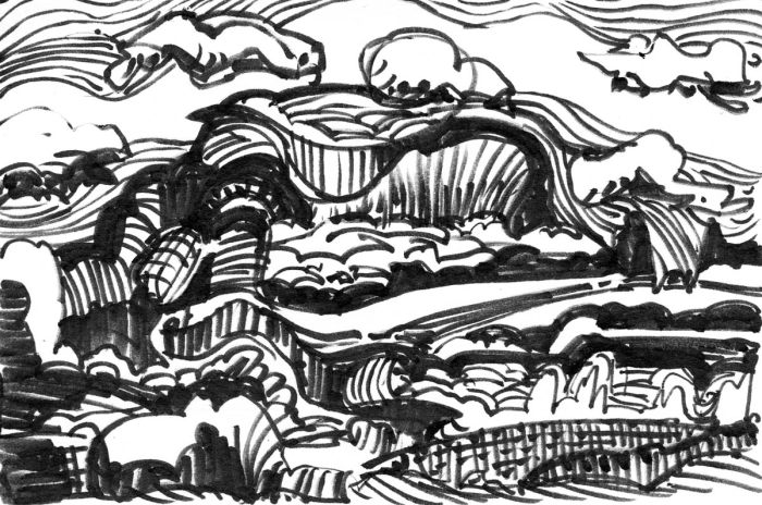 A loose marker sketch with random lines and marks that appear to be a landscape.