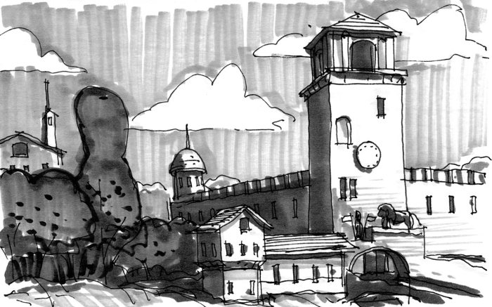 A pen and marker sketch of historical architecture within a landscape.