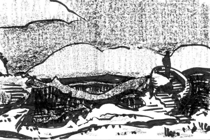 A sketch showing stairs that lead to an elevated platform that overlooks a conceptual landscape. The sketch was completed with brush pen and crayon.