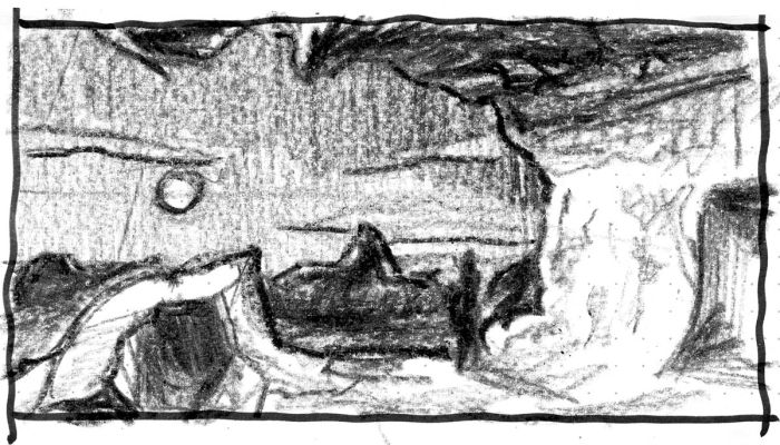 A sketch of a conceptual landscape with a person looking out from an elevated cave. The sketch was completed with a black crayon.