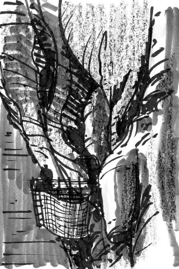 A sketch of a platform extending from the side of a cliff. The sketch was completed using a brush pen, marker, and crayon.
