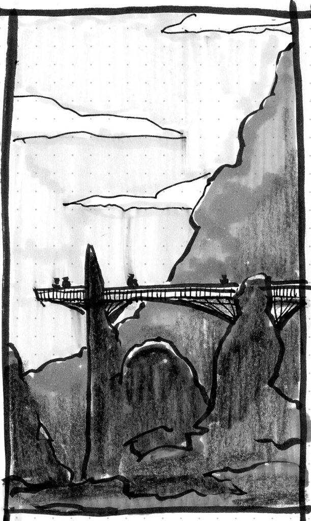 A sketch of a rocky landscape with a bridge connecting two monoliths. The sketch was completed with brush pen, markers, and crayon.