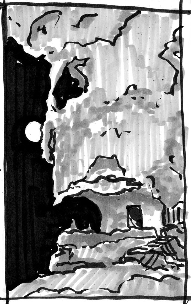 A conceptual landscape of an open cafe in a cliff with a full moon shown in the background. The sketch was completed with brush pen and marker.
