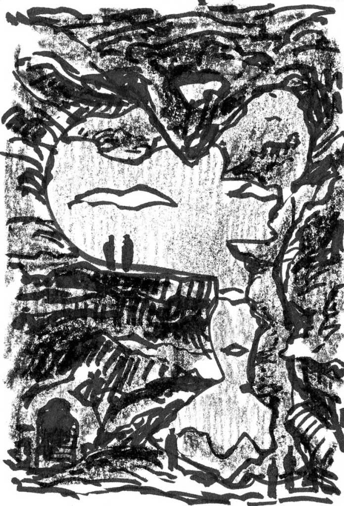 A sketch of a conceptual landscape with a person looking out from an elevated cave. The sketch was completed with a brush pen and black crayon.