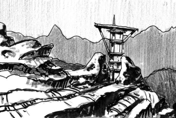 A sketch of a conceptual landscape with a tower coming out between two rocks. The sketch was completed with a brush pen, crayon, and marker.