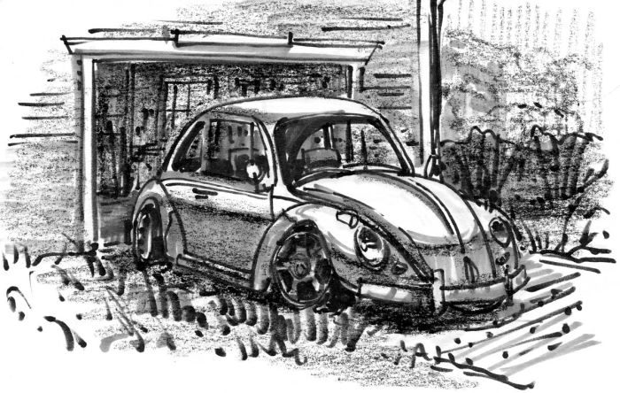 A quick sketch of a 1963 VW Beetle using marker and crayon.