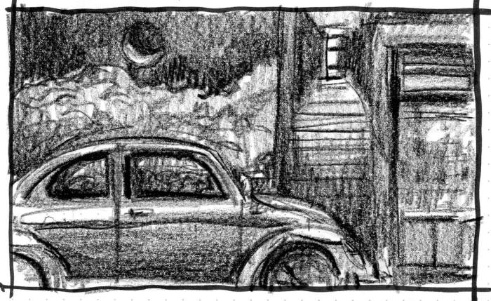 A quick sketch of a 1963 VW Beetle using a crayon.