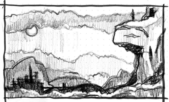 A sketch of a conceptual landscape completed with a crayon.