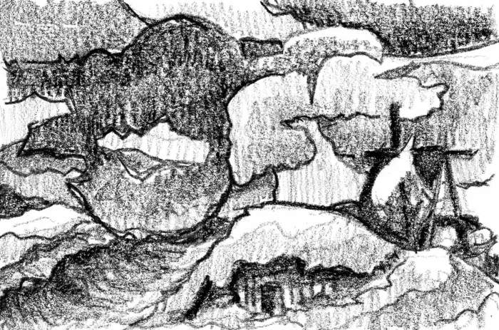 A sketch of a rolling landscape with abstract cloud shapes and an A-Frame house on the right side of the composition. This sketch was completed with a black crayon.
