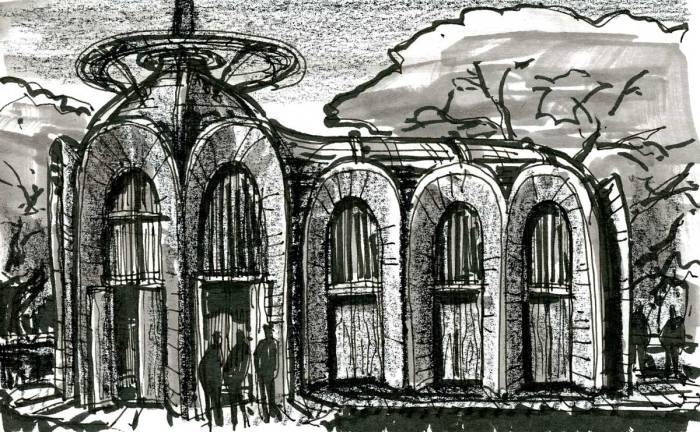 A sketch of a conceptual church building with rounded, organic forms.
