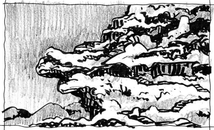 A sketch of a conceptual rocky landscape with a cliff, completed with a brush pen and crayon.