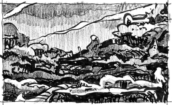 A sketch of a conceptual rocky landscape, completed with a brush pen and crayon.