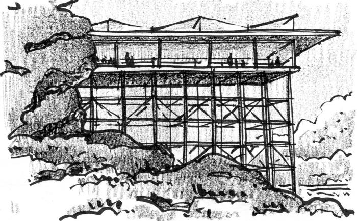 A sketch of a pavilion in a rocky landscape, elevated off of the ground by a grid structure.