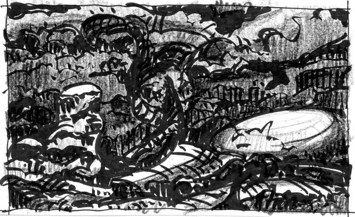 A conceptual sketch of a rocky and organically shaped landscape with dark, rolling clouds above.