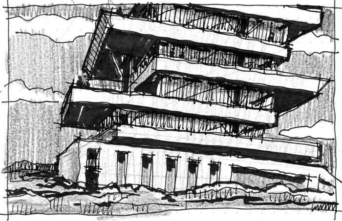 A sketch of a leaning tower with horizontal planes for each floor, located in a barren landscape.