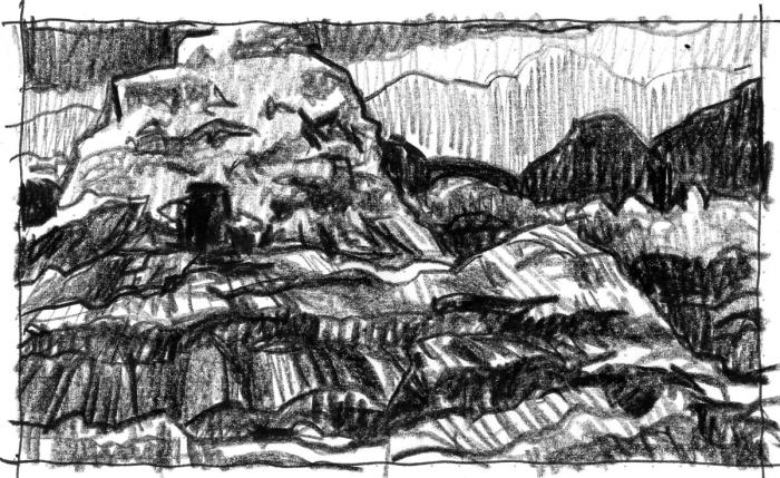 A conceptual landscape with a large mound on the left that contains a door.