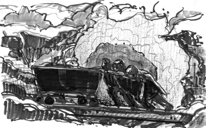 """A sketch study based on William P. Welsh's study titled """"Prisoners of War."""""""