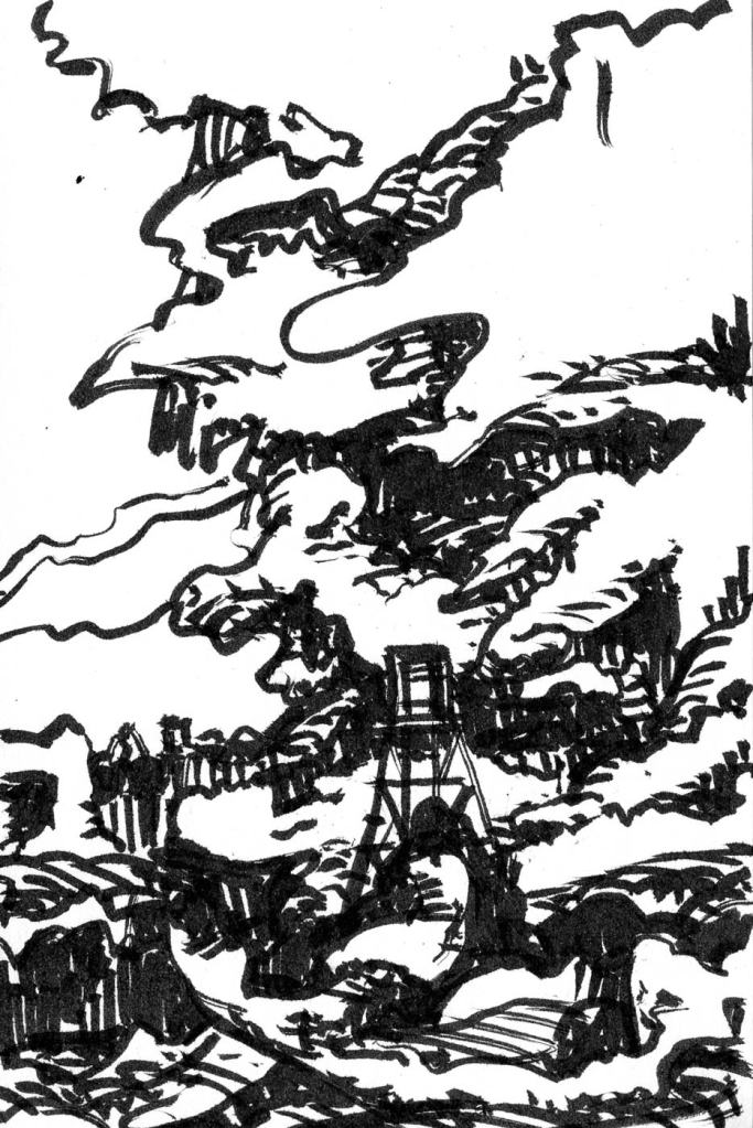 A brush pen sketch of a rocky cliff with an elevated hut nestled below.