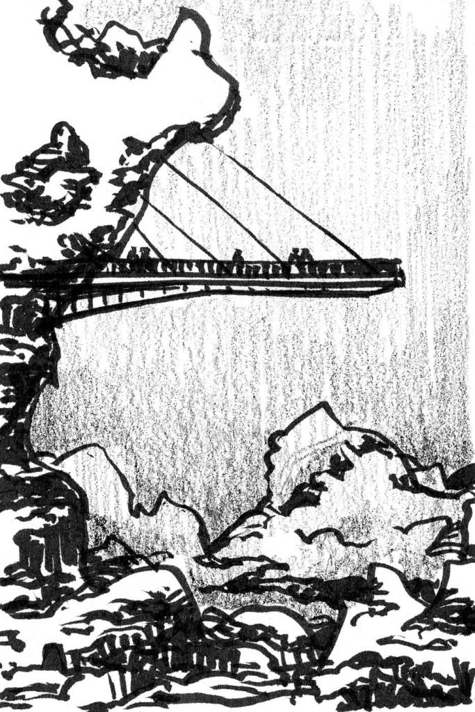 A sketch of a rocky cliff on the left side with a suspended bridge hanging beyond the rock face. The sketch was completed with a brush pen and crayon.