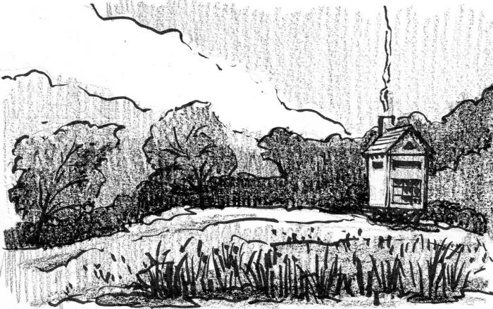 A brush pen and crayon sketch of an elevated cabin in a landscape with a meadow and trees. Smoke is rising out of the chimney.