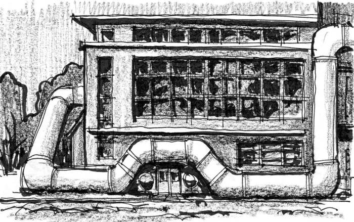 A sketch of a warehouse building with a large pipe that snakes around the perimeter.