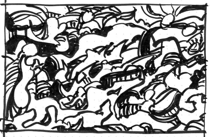A loose brush pen sketch with random lines and marks.