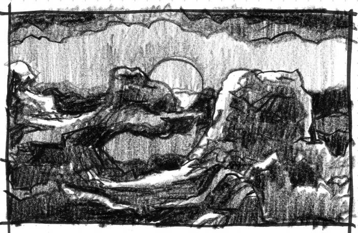 A sketch of a conceptual landscape with rocky monoliths in front of a rising full moon.