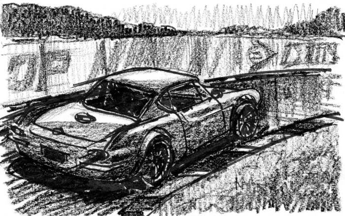 A brush pen and crayon sketch of a vintage car racing around a right-hand turn.