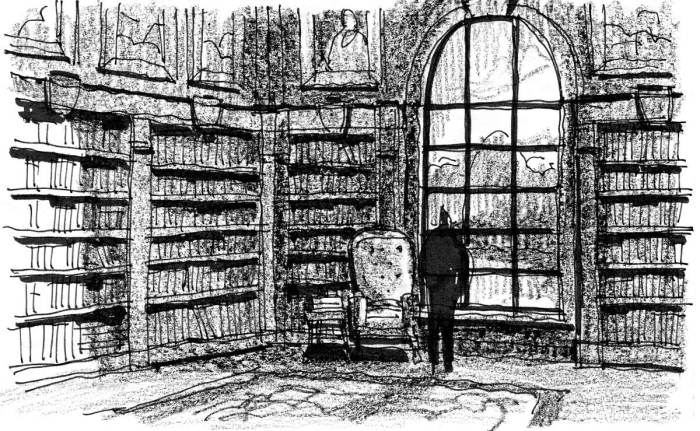 A sketch of a library inspired by George McDonald's story Lilith.