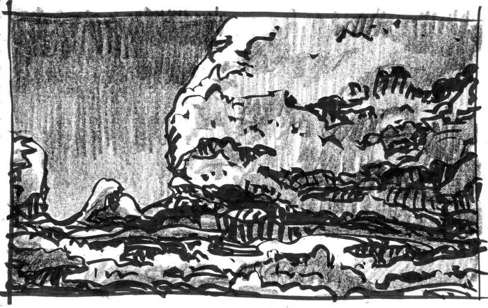 A sketch of a conceptual landscape with a large rock face on the right side of the composition. The sketch was completed with both brush pen and crayon.